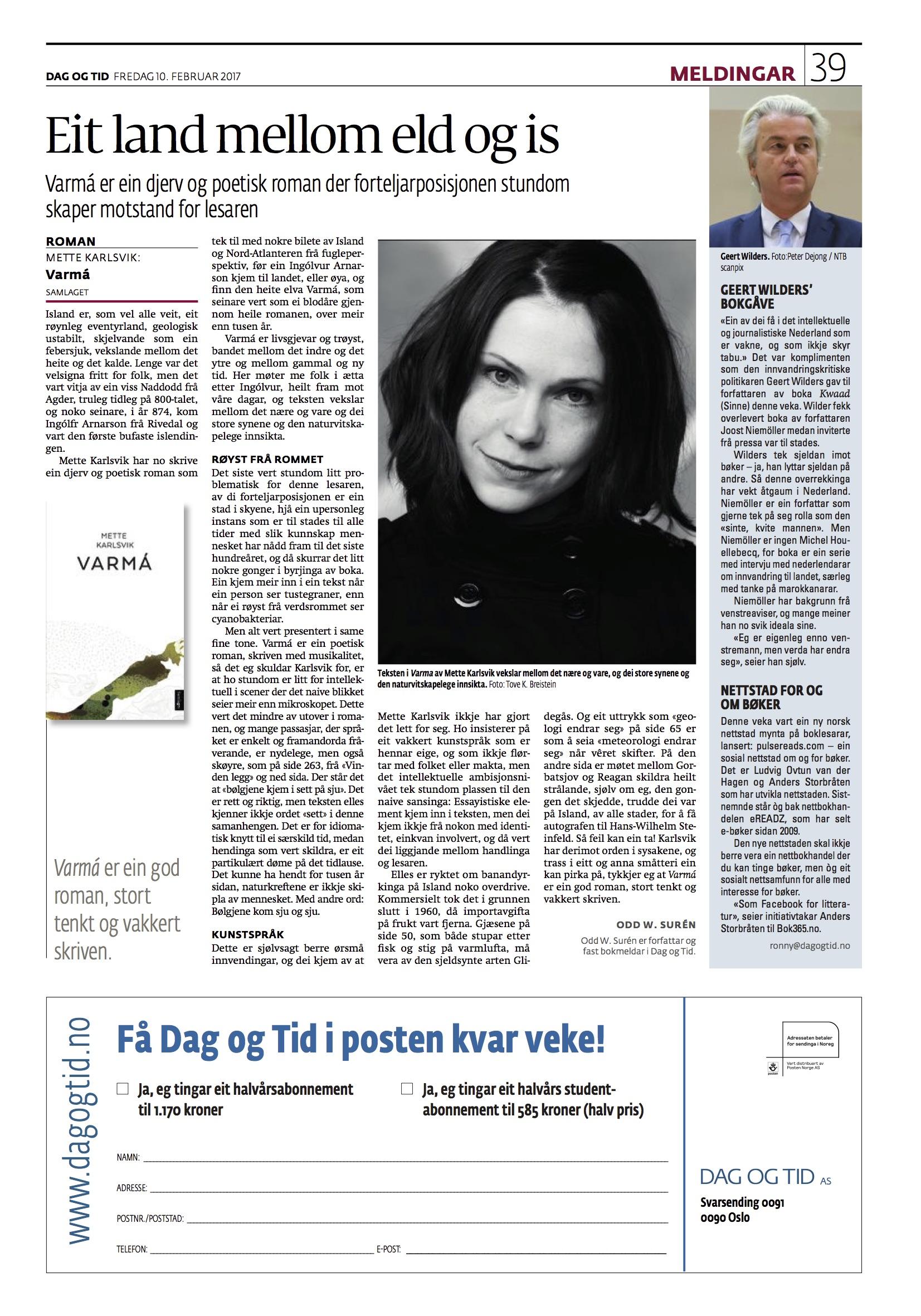 God og lærarik melding av Varmá, underskriven Odd W. Surén. Dag og tid 10/2.